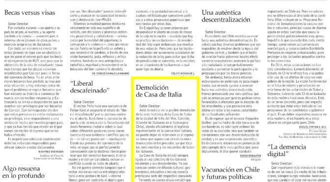 Comunicado COMITES hoy en El Mercurio