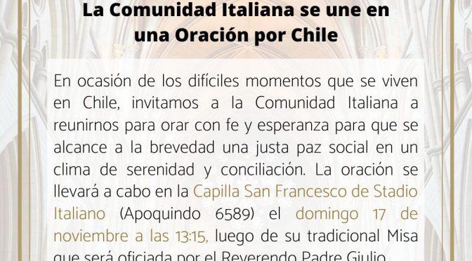Oración por Chile: Colectividad Italiana se une en oración