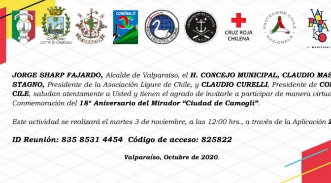 Invitación abierta: Celebración telemática 18° aniversario Mirador Camogli
